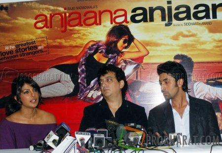Priyanka Chopra, Sajid Nadiadwala and Ranbir Kapoor